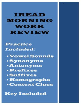 Indiana IREAD Morning Work Practice