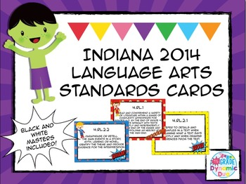 4th Grade Indiana Language Standards Cards - Superhero Theme