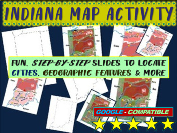 Indiana Map Activity- fun, engaging, follow-along 12-slide PPT
