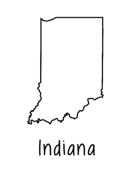 Indiana Map Coloring Page Craft - Lots of Room for Note-Taking & Creativity