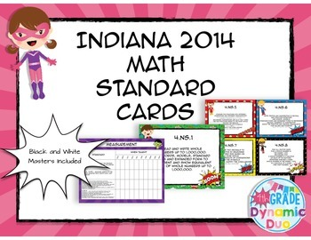 Indiana Math Standards Cards - Superhero Theme