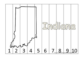 Indiana Number Sequence Puzzle.  Learn the States preschool printable game.