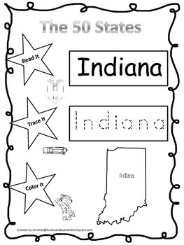 Indiana Read it, Trace it, Color it Learn the States preschool worksheet.