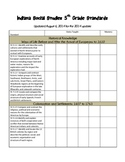 Indiana Social Studies Standards Checklist 5th Grade REVISED 2014