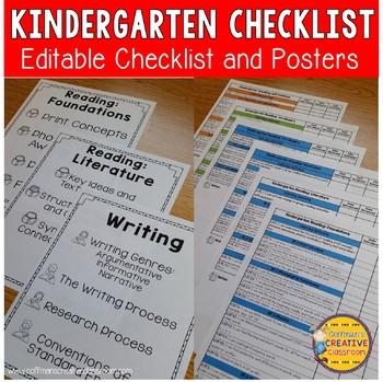 Indiana Standards Checklist Kindergarten