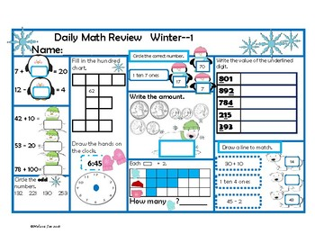 Indiana Academic Standards Daily Math Review 2nd Grade Winter Theme