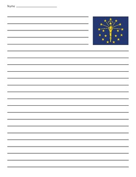 Indiana State Flag Primary Lined Paper