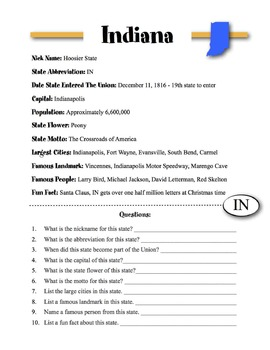 Indiana State Information & Worksheet