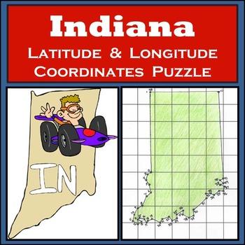 Indiana State Latitude and Longitude Coordinates Puzzle -