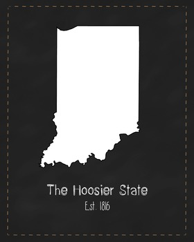Indiana State Map Class Decor, Government, Geography, Black and White Design