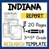 Indiana State Research Report Project Template + bonus timeline craftivity IN