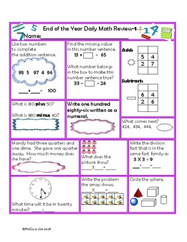 Indiana State Standards Daily Math Review 2nd Grade End of the Year