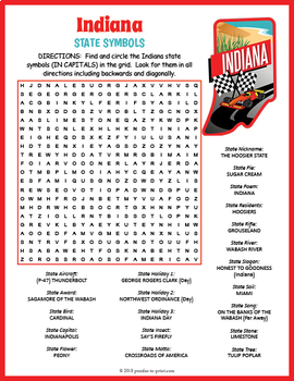 Indiana State Symbols Word Search Puzzle