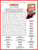 INDIANA State Symbols Word Search Puzzle Worksheet Activity