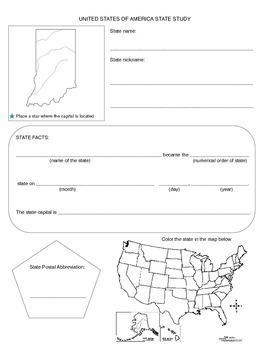 Indiana State study worksheet