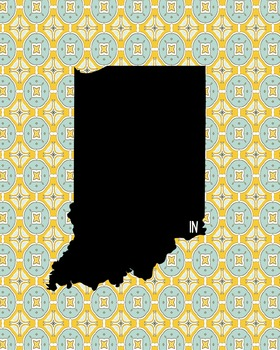 Indiana Vintage State Map or Poster Class Decor, Classroom Decoration