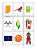 Indiana themed Memory Matching and Word Matching preschool curriculum game.