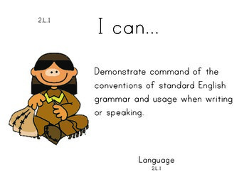 Indians 2nd grade English Common core standards posters