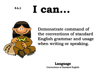 Indians 3rd grade English Common core standards posters