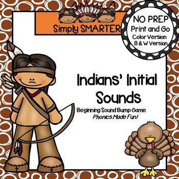 Indians' Initial Sounds:  NO PREP Beginning Sound Bump Game