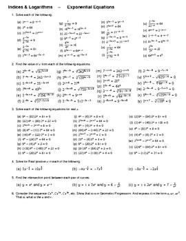 Indices & Logarithms – Exponential Equations