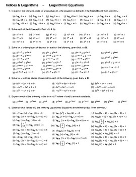Indices & Logarithms – Logarithmic Equations