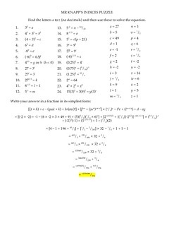 Indices Puzzle ANSWERS