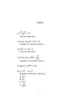 Indices-harder questions (worksheet with detailed solutions)