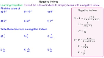 Indices with Negative Powers Grade 8 Math Lesson