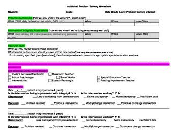 Indidvidual Problem Solving (Tier 3) Planning Form