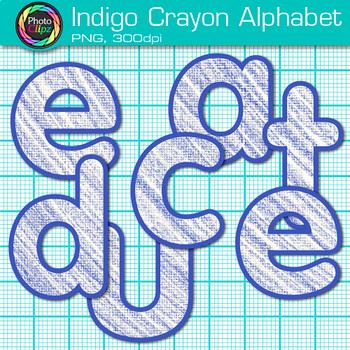 Indigo Crayon Alphabet Clip Art {Great for Classroom Decor & Resources}
