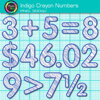 Indigo Math Numbers Clip Art {Great for Classroom Decor & Resources}