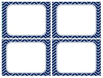 Indigo Night Blue Chevron Task Card/Scoot Card Templates