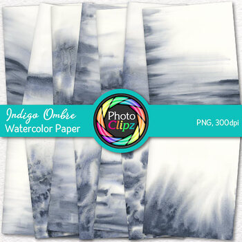 Indigo Ombre Watercolor Papers | 14 Digital Backgrounds & Scrapbook Papers