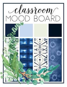 Eucalyptus and Indigo Shibori Classroom Decor {EDITABLE}