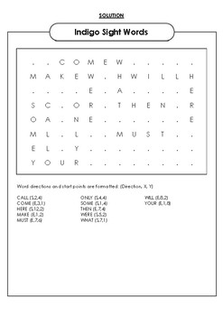 Indigo Sight Words Word Search