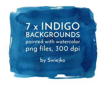 Indigo Watercolor Background, splotches, brush strokes, splashes