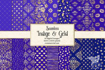 Indigo and Gold Digital Paper, seamless violet and gold foil patterns