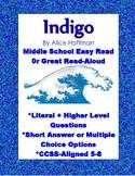 Indigo by Alice Hoffman Middle School Close Reading or Read-Aloud CCSS 5-8