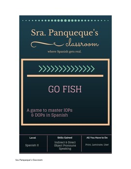 Indirect / Direct Object Pronoun Go Fish Game