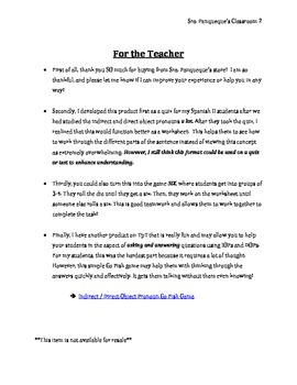 Indirect / Direct Object Pronoun Practice Worksheet or Game