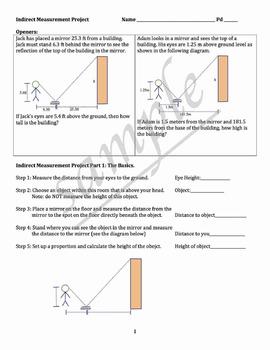 Indirect Measurement (Ratios, Proportions, Trigonometry)
