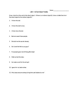 Indirect Object Practice