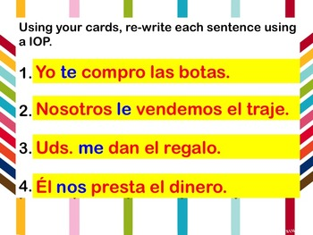 Indirect Object Pronoun Envelope Activity