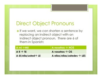 Spanish Indirect Object Pronoun Notes