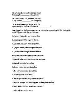 Indirect Object Pronoun Worksheet - Spanish