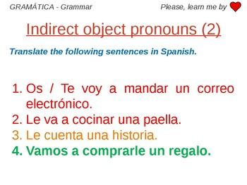Indirect Object Pronouns - Grammar Work Spanish