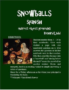 Indirect Object Pronouns Snowballs SPANISH