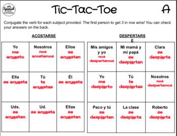 Spanish Reflexive Verbs: Tic-Tac-Toe Game
