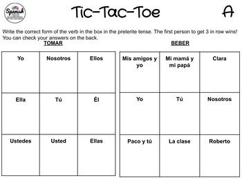 Spanish preterite: Tic-Tac-Toe Game